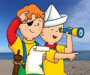 Caillou und Leo spielen Piraten und die Suche nach einem Schatz mit der Karte puzzle