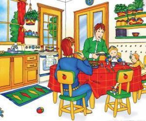 Caillou und seine Familie beim Essen in der Küche puzzle