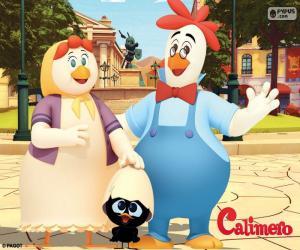Calimero mit seinen Eltern puzzle