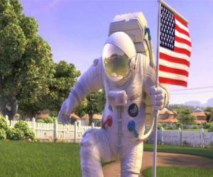 Captain Charles Chuck Baker, Hämmern die amerikanische Flagge auf Planet 51 Land puzzle