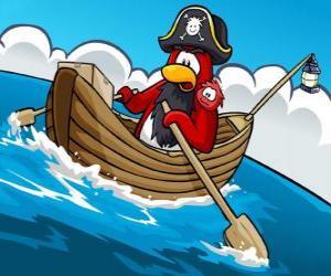 Captain Rockhopper und sein Haustier in seinem Boot in den Club Penguin puzzle