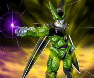 Cell, die ultimative Erstellung von Doktor Gero. Eine künstliche Lebensform mit Zellen von Goku und andere Zeichen erstellt puzzle