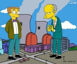Charles Montgomery Burns und Waylon Smithers, der Besitzer des Kernkraftwerks Springfield und sein Assistent puzzle