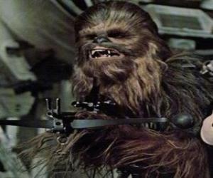 Chewbacca, der große und haarige wookiee, wies seine waffe puzzle