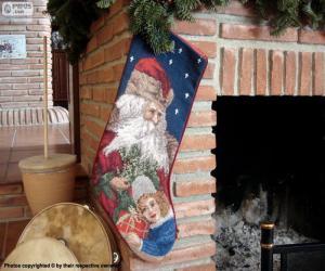 Christmas Sock hing an den Schornstein puzzle