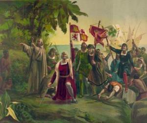 Christoph Kolumbus mit dem Schwert in Besitz nimmt neue Länder puzzle