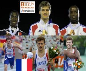 Christophe Lemaitre von 200 m Meister, Christian Malcolm und Martial Mbandjock (2. und 3.) der Leichtathletik-Europameisterschaft Barcelona 2010 puzzle