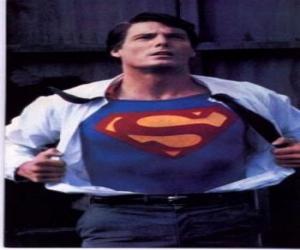 Clark Kent zu Superman mit seiner roten und blauen uniform den kampf um gerechtigkeit puzzle