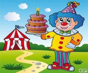 Clown mit einer Jubiläums-Torte puzzle