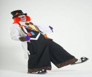 Clown mit voller clown kostüm, hut, perücke, handschuhe, krawatte, große hosen und große schuhe puzzle