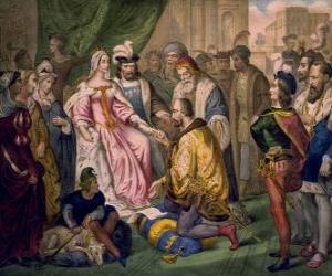 Columbus im Gespräch mit der Königin Isabel I. von Kastilien, in den Hof von Ferdinand und Isabella puzzle