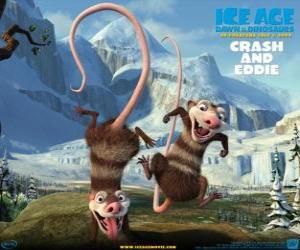 Crash und Eddie, zwei opossums problematisch puzzle