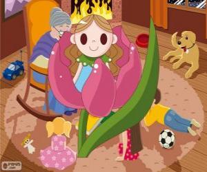 Däumelinchen. Das kleine Mädchen in einer Blume geboren wurde puzzle