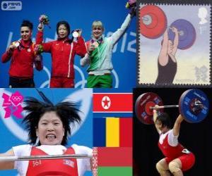 Damen 69 kg Gewichtheben Podium, Rim Jong-Sim (Nordkorea), Roxana Cocoş (Rumänien) und Maryna Shkermankova (Bilorrusia) - London 2012- puzzle