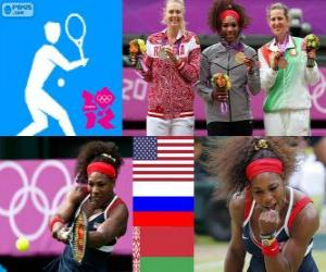 Damen Einzel Tennis Podium, Serena Williams (USA), Maria Sharapova (Russland) und Victoria Azarenka (Weißrussland) - London 2012- puzzle