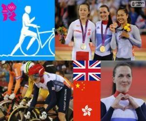 Damen Keirin Track Radfahren Podium, Victoria Pendleton (Vereinigtes Königreich), Guo Shuang (China) und Lee Wai-Sze (Hong Kong) - London 2012- puzzle