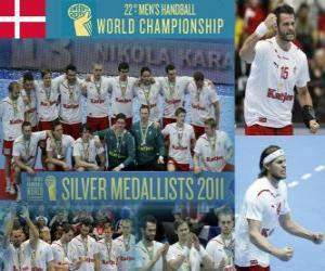 Dänemark Silbermedaille in der 2011 World Handball puzzle