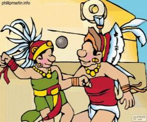 Das Ballspiel war ein Maya-Ritual, Kampf Spieler den Ball durch den Ring aus Stein vorbei puzzle