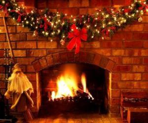 Das Feuer leuchtet am Heiligabend puzzle
