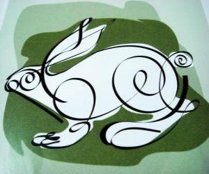 Das Kaninchen, das Kaninchen zu unterzeichnen, das Jahr des Hasen. Das vierte Tier im chinesischen Horoskop puzzle