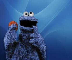 Das Krümelmonster ist Essen ein Cookie puzzle