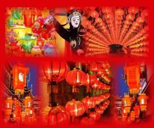 Das Laternenfest ist das Ende des chinesischen Neujahrsfest. Schöne Papierlaternen puzzle