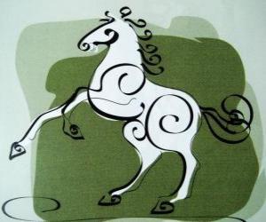Das Pferd, das Zeichen des Pferdes, Year of the Horse in der chinesischen Astrologie. Die siebte Tier des chinesischen Tierkreises puzzle