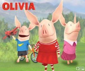 Das Schwein Olivia mit seinen Brüdern William a Ian puzzle