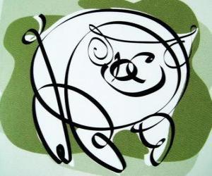 Das Schwein, Zeichen des Schweins, das Jahr des Schweins in der chinesischen Astrologie. Der letzte der zwölf Tiere im chinesischen Tierkreis puzzle