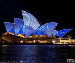 Das Sydney Opera House in der Nacht puzzle
