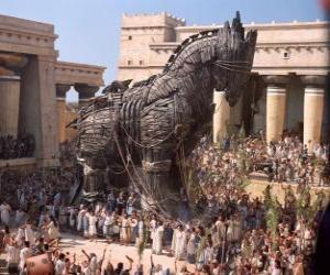 Das trojanische pferd, eine riesigen hohlen hölzernen pferd puzzle