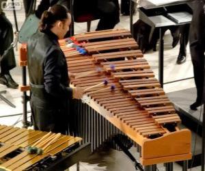Das Vibraphon oder Vibrafon ist als Metallophon puzzle