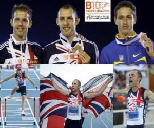 David Greene 400m Hürden Champion, Rhys Williams und Stanislav Melnykov (2. und 3.) der Leichtathletik-Europameisterschaft Barcelona 2010 puzzle