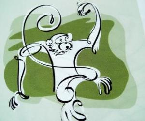 Der Affe, Zeichen des Affen, dem Jahr des Affen in der chinesischen Astrologie. Der neunte der zwölf Tiere des 12-Jahres-Zyklus der chinesischen Sternzeichen puzzle
