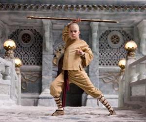 Der Avatar Aang ist der Protagonist des Abenteuers und sein Schicksal ist es, die vier Elemente: Luft, Wasser, Erde und Feuer puzzle