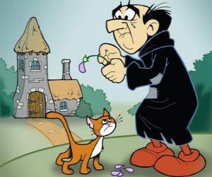 Der böse Zauberer Gargamel und seine Katze Azrael, die Feinde der Schlümpfe puzzle