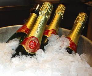 Der Champagner (oder Sekt) von Französisch-Champagner, ist eine Art von Schaumwein nach der Methode champenoise in der Champagne, Frankreich produziert. puzzle