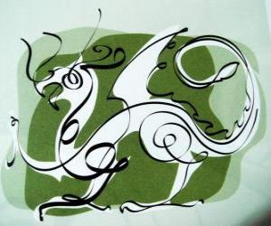 Der Drache, das Zeichen des Drachen, des Year of the Dragon. Fifth chinesischen Sternzeichen Tier puzzle