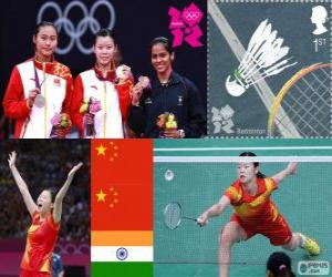 Der Frauen singles Badminton Podium, Li Xuerui (China), Wang Yihan (China) und Saina Nehwal (Indien) - London 2012- puzzle