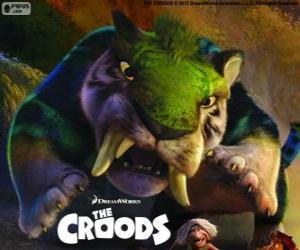 Der grüne tiger, ein Säbel-Zahn-Tiger aus Croods puzzle