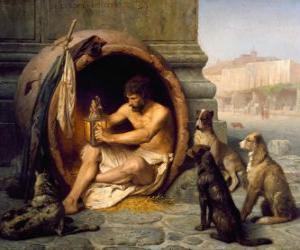 Der griechische Philosoph Diogenes von Sinope, in ihrem lauf,, auf den Straßen von Athen puzzle