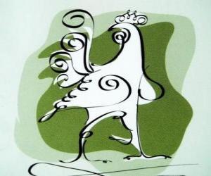 Der Hahn, das Zeichen des Hahns, das Jahr des Hahns in der chinesischen Astrologie. Das Zehntel der chinesischen Horoskop Tier puzzle