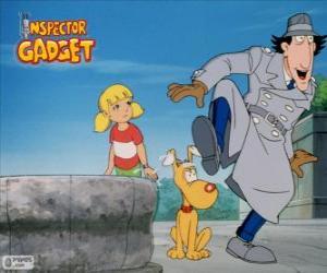 Der Inspector Gadget mit seiner Nichte Sophie und ihr Hund Fino puzzle