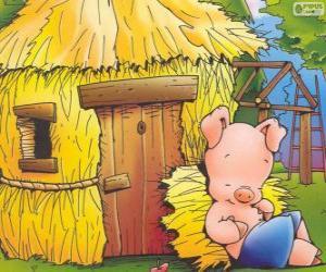 Der jüngere Bruder endet zuerst sein Haus aus Stroh puzzle