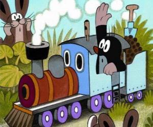 Der kleine Maulwurf in einer Dampflokomotive puzzle