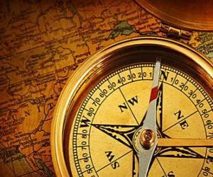 Der Kompass und Karte einige wesentliche Zubehör für Entdecker und Abenteurer puzzle