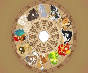 Der Kreis mit den Zeichen der zwölf Tiere des chinesischen Tierkreises, Chinesisches Horoskop puzzle
