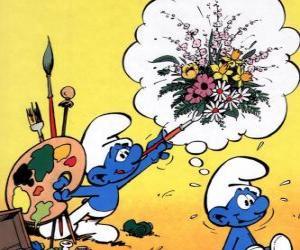 Der Maler Smurf malte die Gedanken eines anderen Smurf puzzle