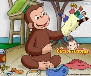 Der neugierige Affe George macht Marionetten puzzle