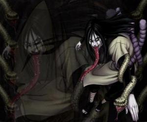 Der Ninja Orochimaru mit Schlangen als Teil seines Körpers nach verschiedenen Modifikationen puzzle